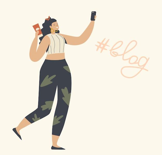 Postać młodej kobiety ze smartfonem w rękach, oglądając lub nagrywając vlog