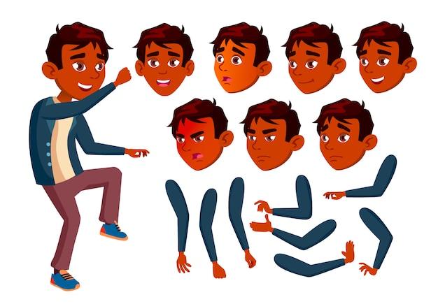 Postać nastolatka. indyjski. kreator tworzenia animacji. twarz emocje, ręce.