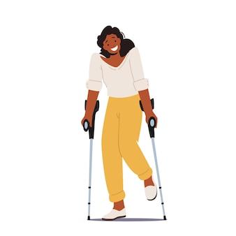 Postać niepełnosprawna kobieta stoi na kulach