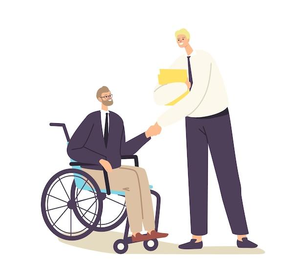 Postać niepełnosprawnego biznesmena na wózku inwalidzkim, uścisk dłoni z partnerem biznesowym lub szefem