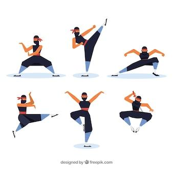 Postać ninja w różnych pozach o płaskiej konstrukcji