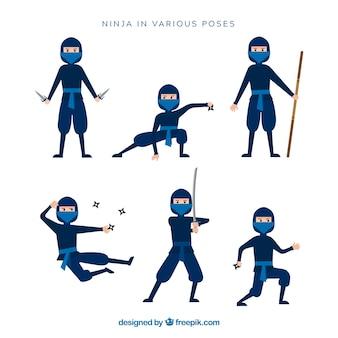 Postać ninja w różnych pozach z płaskim desingiem