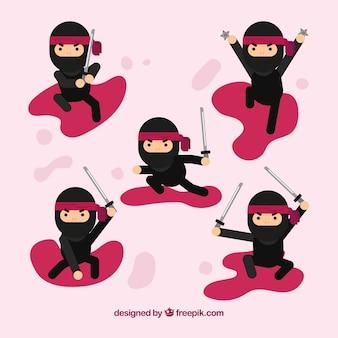 Postać ninja w różnych pozach