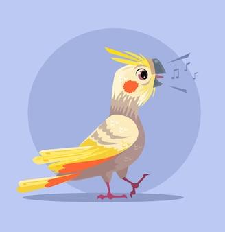Postać papugi śpiewa piosenkę