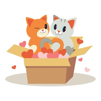 Postać pary miłość ślicznego kota w pudełku i grać serce na białym tle