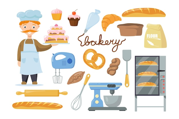 Postać piekarza ze sprzętem do ilustracji dla dzieci