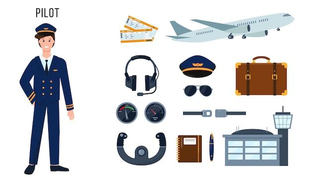 Postać pilota i zestaw elementów do swojej pracy koncepcja ludzi zawodu