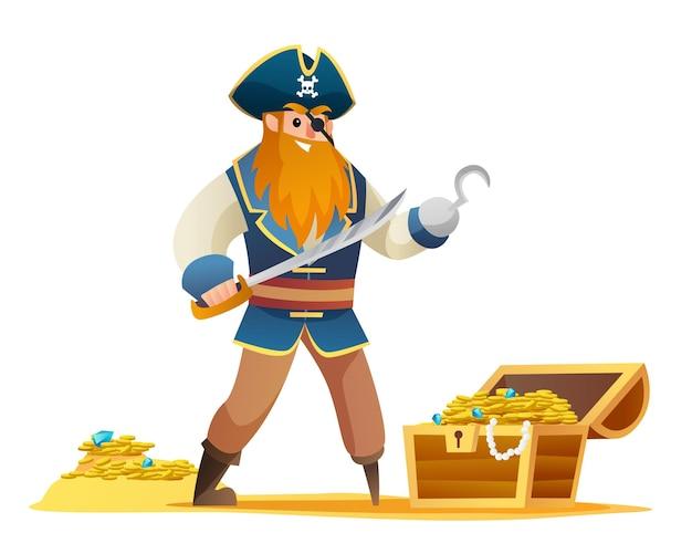 Postać pirata trzymająca miecz z kreskówką ze skarbem