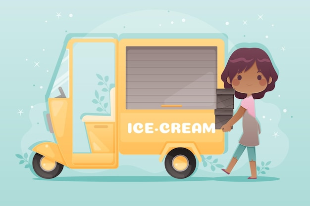 Postać ponownie otwierająca biznes ciężarówek z lodami