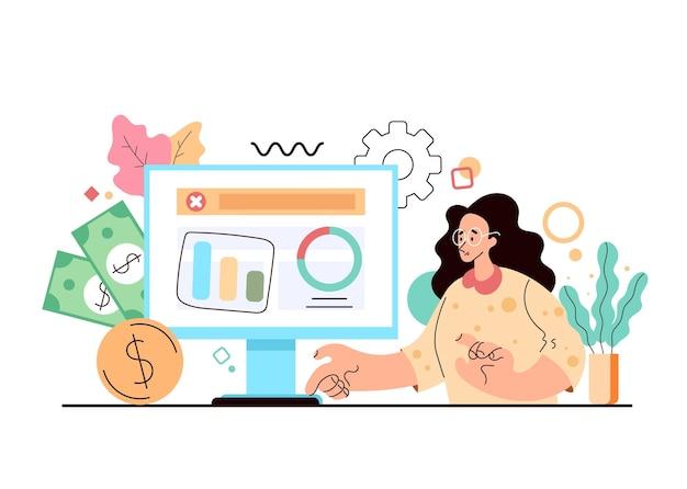 Postać pracownika biurowego kobieta patrząc na analitykę