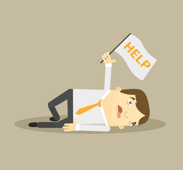 Postać pracownika biurowego potrzebuje pomocy ilustracja kreskówka płaska
