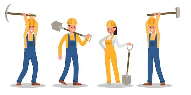 Postać pracownika budowlanego