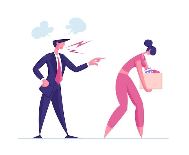 Postać pracownika kobieta zwolniony z pracy