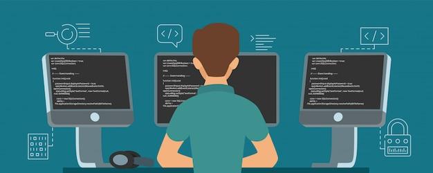 Postać programisty. programista opracowuje ilustrację kodu