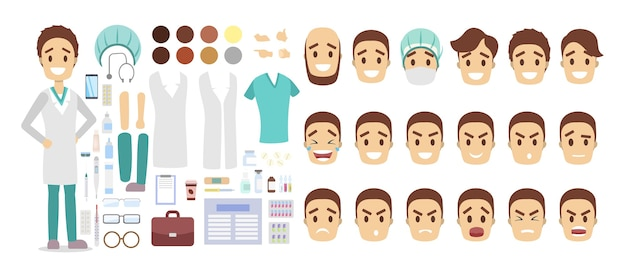 Postać przystojnego lekarza do animacji z różnymi widokami, fryzurami, emocjami, pozami i gestami. sprzęt medyczny, taki jak strzykawka i stetoskop. ilustracja
