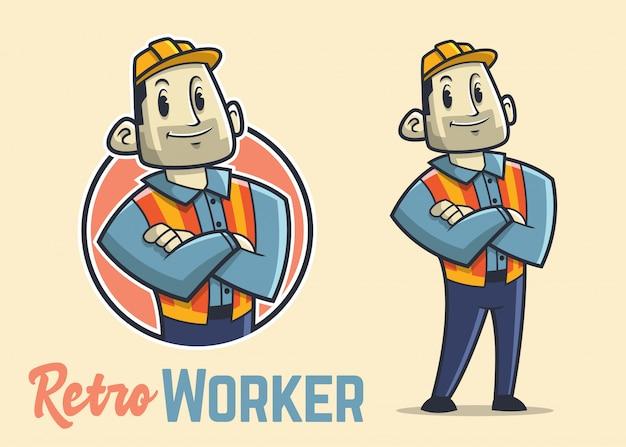 Postać retro robotnik budowlany, maskotka silnego budowniczego vintage, zaufanie i wielki człowiek