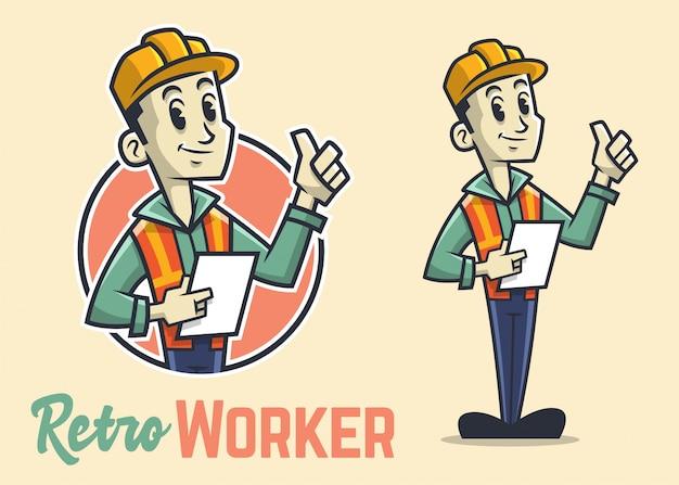 Postać retro robotnik budowlany, maskotka vintage budowniczy, uśmiech i kciuk do góry