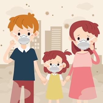 Postać rodziny z maską i miastem pyłu. rodzina czuje się smutna i chora z powodu kurzu. rodzina używa maski. postać ojca mather i dziecko w stylu płaskiej.