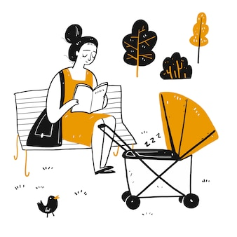 Postać rysunkowa, którą nowicjuszka czyta na ławce w parku.