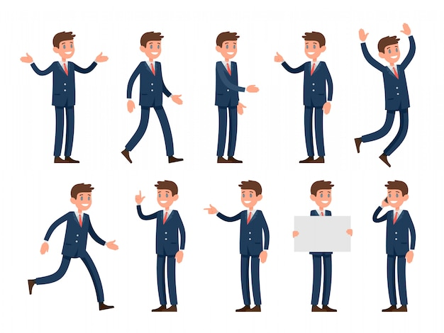 Postać rzecznika biznesowego w stylu kreskówki ubrana w garnitur. zestaw znaków w różnych pozach i gestach: powitanie dłonią, wzruszanie ramionami, palec wskazujący, spacery i inne.