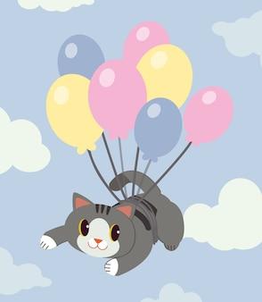 Postać ślicznego kota lata z balonami na niebie