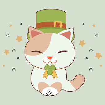 Postać ślicznego nosi zieloną czapkę i wstążkę z liści koniczyny na motyw świętego patryka.