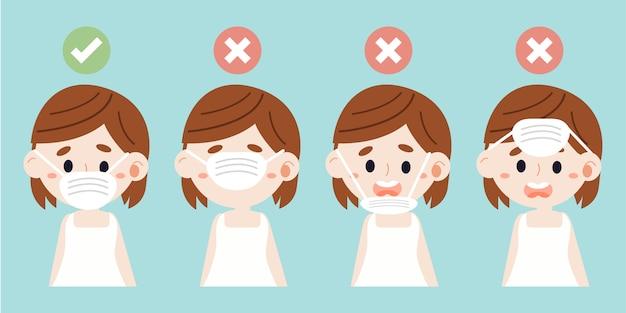 Postać ślicznej dziewczyny nosi maskę medyczną, pokazując, jak prawidłowo ją nosić.