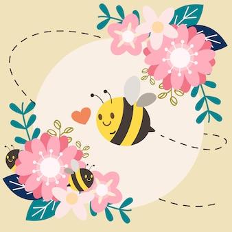 Postać ślicznej pszczoły z kwiatem