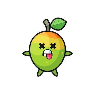 Postać słodkiego mango z martwą pozą, ładny styl na koszulkę, naklejkę, element logo