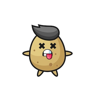 Postać słodkiego ziemniaka z martwą pozą, ładny styl na koszulkę, naklejkę, element logo