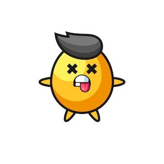 Postać słodkiego złotego jajka z martwą pozą, ładny styl na koszulkę, naklejkę, element logo