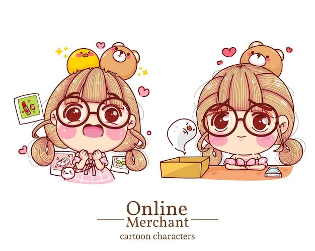 Postać słodkiej dziewczyny w sklepie internetowym uczucie podekscytowania i smutku kreskówki zestaw ilustracji.