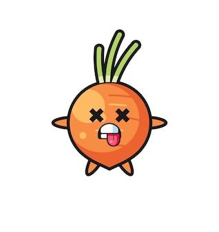 Postać słodkiej marchewki z martwą pozą, ładny styl na koszulkę, naklejkę, element logo