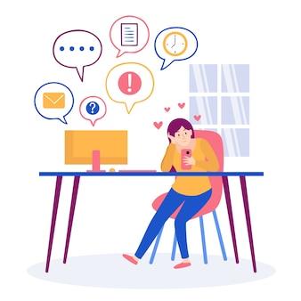 Postać spędzająca czas na telefonie zamiast pracować