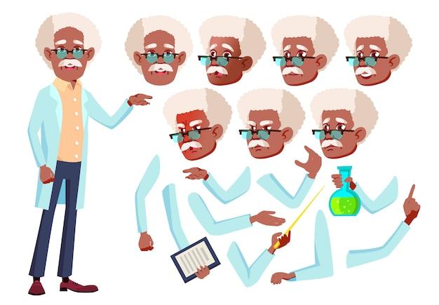 Postać starego człowieka. afrykanin. kreator tworzenia animacji. twarz emocje, ręce.