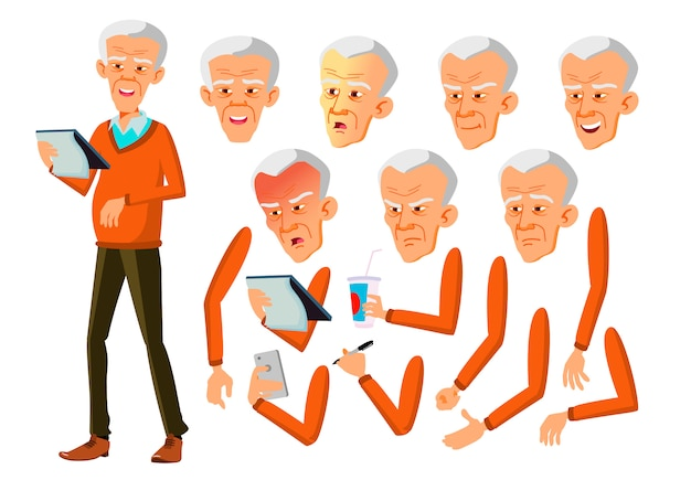 Postać starego człowieka. azji kreator tworzenia animacji. twarz emocje, ręce.
