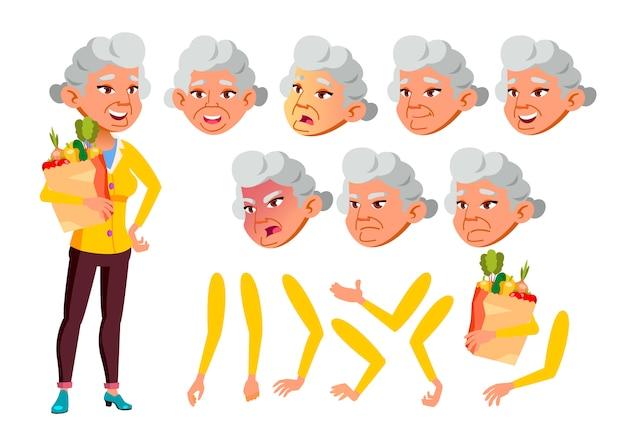 Postać starej kobiety. azji kreator tworzenia animacji. twarz emocje, ręce.