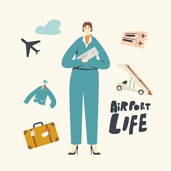 Postać Stewardessy W Mundurze Trzymająca W Ręku Bilety Zaproś Pasażerów Premium Wektorów