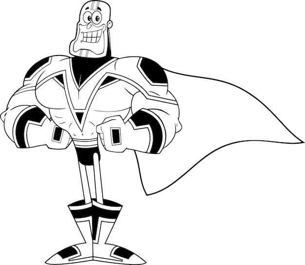 Postać superbohatera czarno-biały.