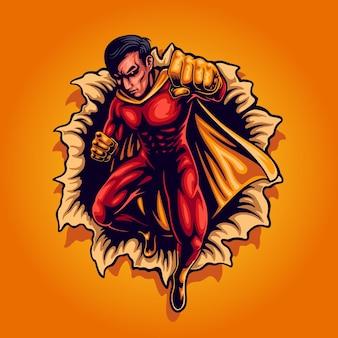Postać superbohatera rozbijającego mur supermocami