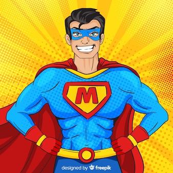 Postać Superbohatera W Stylu Pop-art Premium Wektorów