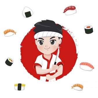 Postać szefa kuchni sushi dla japońskich restauracji,