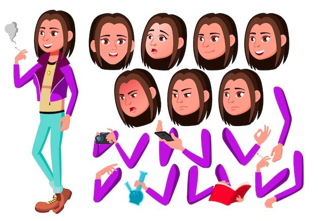 Postać teen girl. europejski. kreator tworzenia animacji. twarz emocje, ręce.