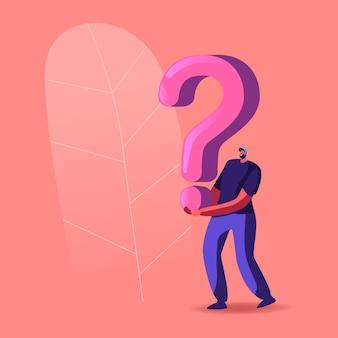 Postać trzymająca ogromny znak zapytania, rozwiązywanie problemu lub zagadka ucieczki z pokoju, enigma.
