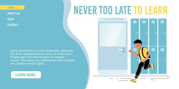 Postać ucznia w pośpiechu, biegnąca do klasy