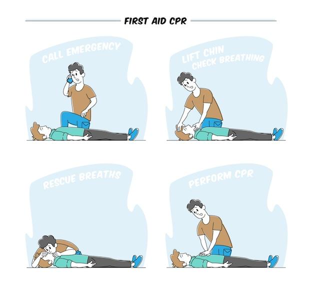 Postać udziela pierwszej pomocy ofierze leżącej na podłodze. połączenie alarmowe