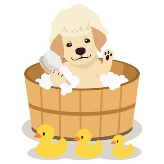 Postać uroczego beagle siedzącego w beczce ze szczotką, szamponem, mydłem i gumową kaczką w płaskiej stylistyce