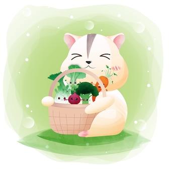 Postać uroczego chomika z warzywami.
