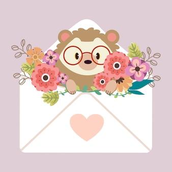 Postać uroczego jeża siedzącego w liście z naklejką serca i kwiatkiem