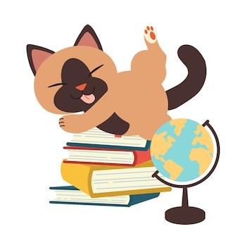 Postać uroczego kota bawiącego się stosem książek. ilustacja o powrocie do szkoły lub miłości do czytania